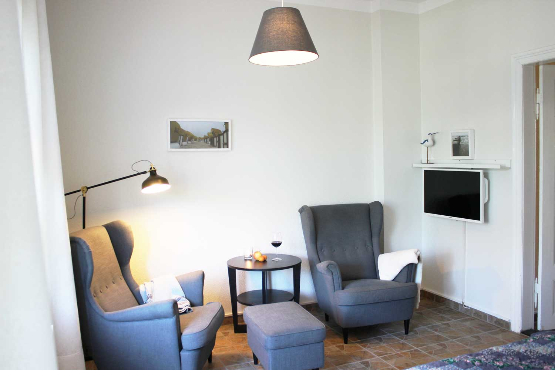 Wohnzimmer der Ferienwohnung Dwarsloeper (bis 4 Pers.)